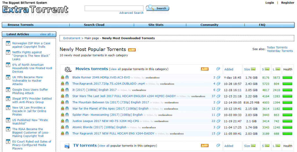 extratorrent can be used as eztv proxy alternative